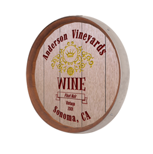 Personalized Wine Label Barrel Sign