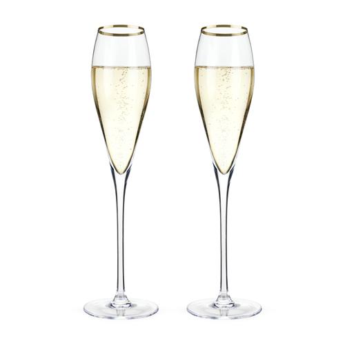 Belmont Gold Rimmed Crystal Champagne Flutes