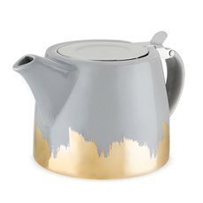Harper Grey and Gold Brushed Ceramic Teapot and Infuser by Pin