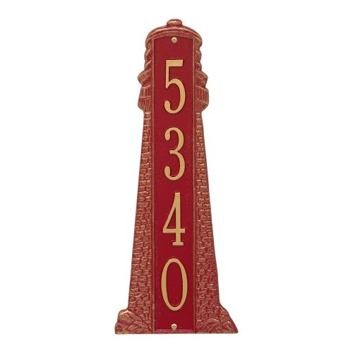 Personalized Lighthouse Vertical - Grande Plaque, Red / Gold