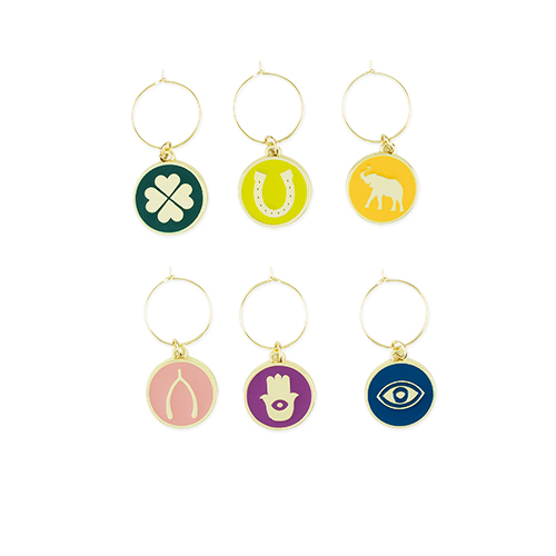 Lucky Symbol Wine Charms (Set of 6 )