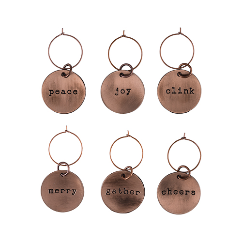 Rustic Holiday: Brushed Copper Wine Charms By Twine (Set of 6)