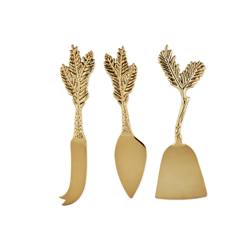 Rustic Holiday: Gold Plated Pine Needle Cheese Knife Set By (Set of 3)