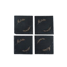 Rustic Holiday: Gilded Slate Coaster Set By Twine (Set of 4)