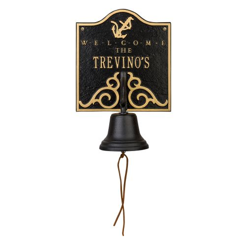 Personalized Anchor Bell Welcome Plaque, Black / Gold