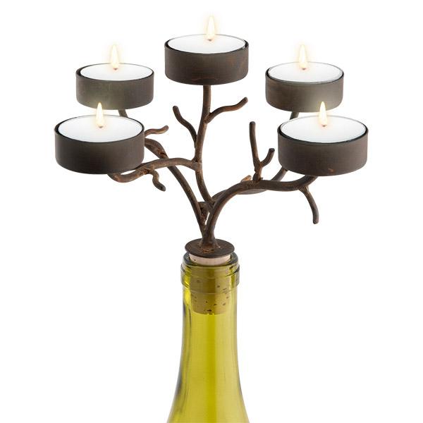 5-Tealight Branches Wine Bottle Candelabra