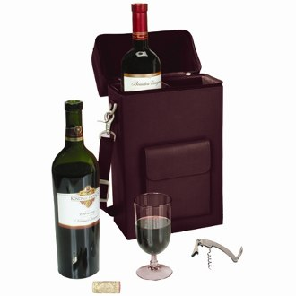 Royce Leather Luxury Wine Carrying Carrier in Genuine Leather, Burgundy