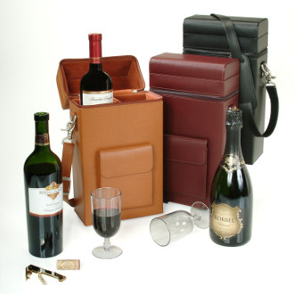 Royce Leather Luxury Wine Carrying Carrier in Genuine Leather