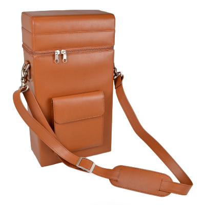 Royce Leather Luxury Wine Carrying Carrier in Genuine Leather, Tan
