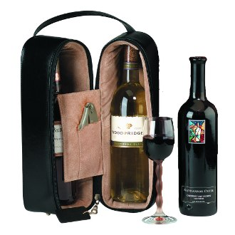 Luxury Suede Lined Double Wine Carrier in Genuine Black Leather