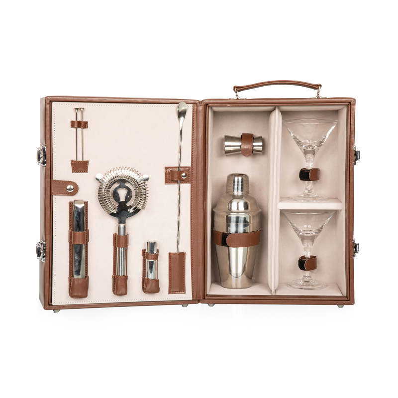 Martini Cocktail Travel Case with Accessories, Mahogany