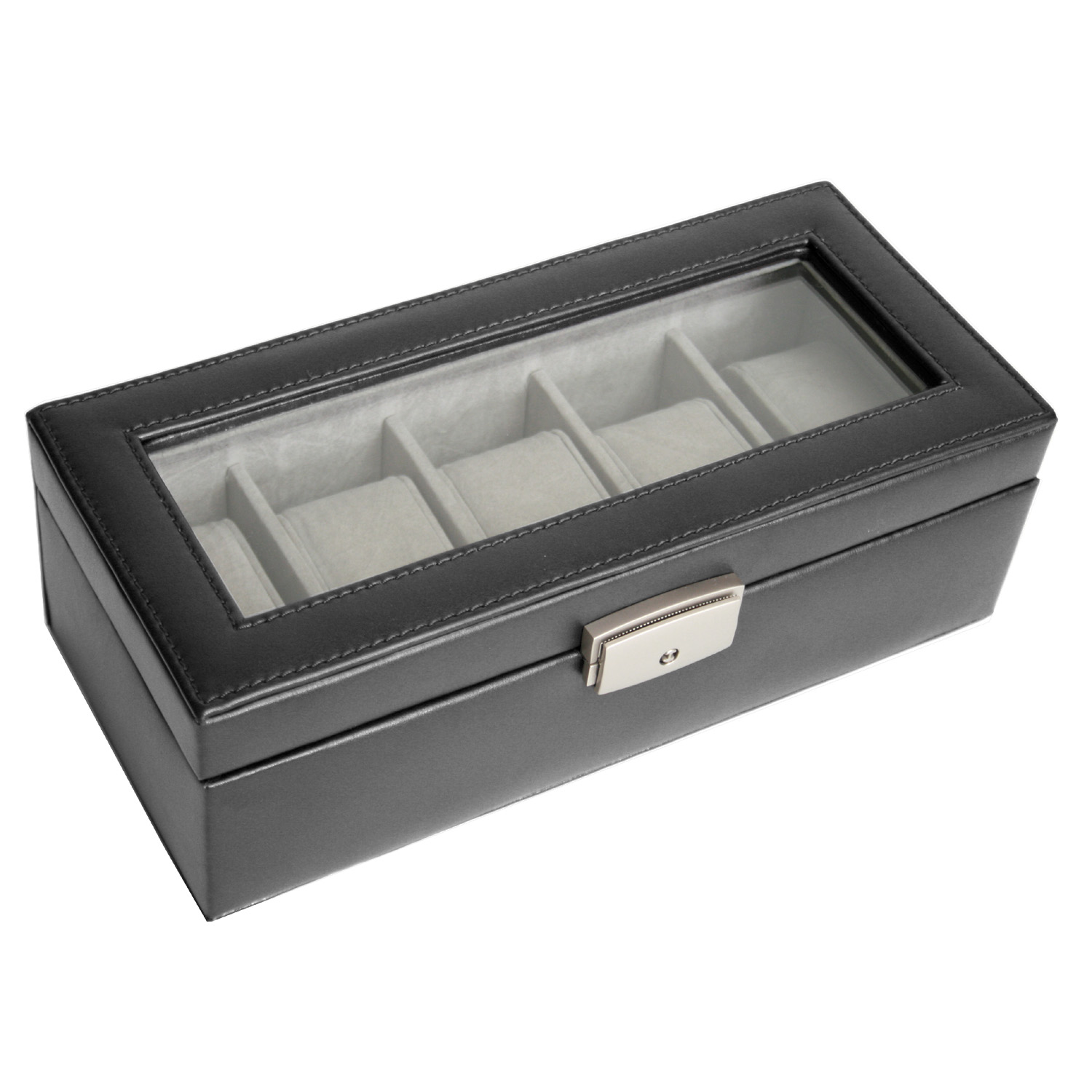 5 Slot Watch Box Display Case in Genuine Leather