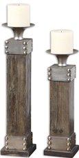 Uttermost Lican Natural Wood Candleholders, Set/2