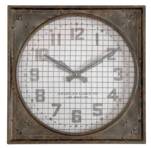 Uttermost Warehouse Wall Clock W/ Grill