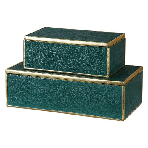 Uttermost Karis Emerald Green Boxes S/2