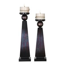 Uttermost Geremia Oxidized Bronze Candleholders S/2