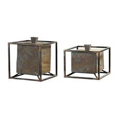 Uttermost Slate Cube Boxes S/2