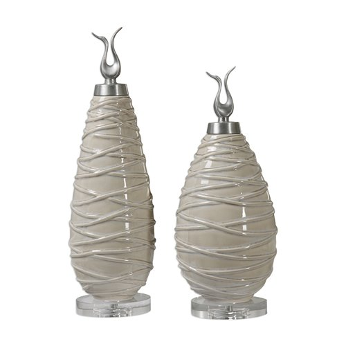 Uttermost Romeo Crackled Light Gray Finials S/2