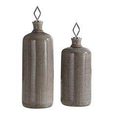 Uttermost Dhara Taupe Glaze Bottles, S/2