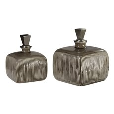 Uttermost Cayson Ribbed Ceramic Bottles, S/2