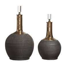 Uttermost Arnav Matte Black Bottles, S/2