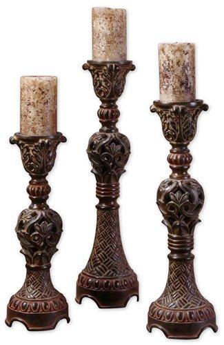 Uttermost Rosina Walnut Brown Candlesticks, Set/3