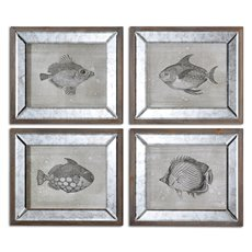 Uttermost Mirrored Fish Framed Art S/4
