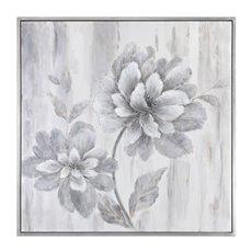 Uttermost Silver Leaf Floral Art