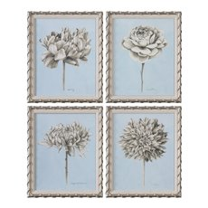 Uttermost Graphite Botanical Study Floral Prints S/4