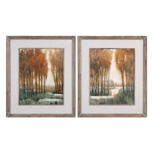 Uttermost Custom Golden Forest Landscape Prints S/2
