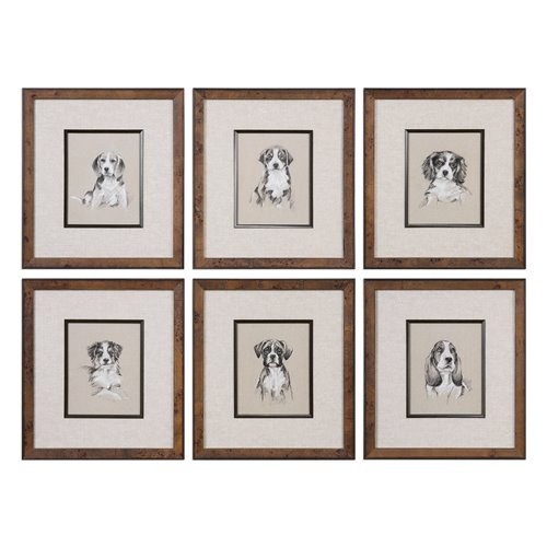 Uttermost Small Breed Sketch Prints S/6