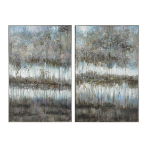 Uttermost Gray Reflections Landscape Art S/2