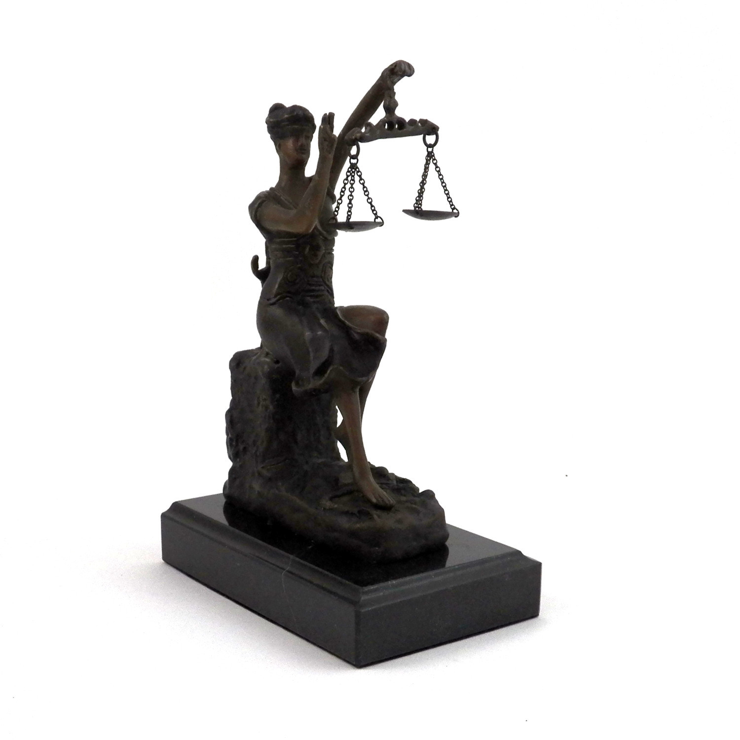 Bronze Victorious Lady Justice Sculpture on Marble Base
