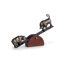 See-Saw Metal Bull and Bear Sculpture with Teak Wood Base