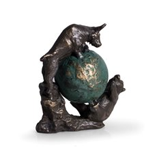 Bronzed Finished Bull and Bear Fight Sculpture with Globe