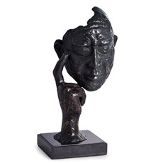 Thinking Man Sculpture with Bronzed Finish on Marble Base