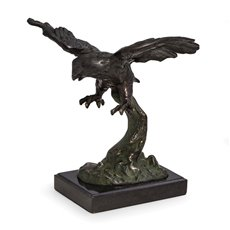 Soaring Eagle Sculpture with Bronzed Finish on Marble