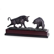 Charging Bull and Bear Sculpture with Bronzed Metal Finish on Burl Wood Base