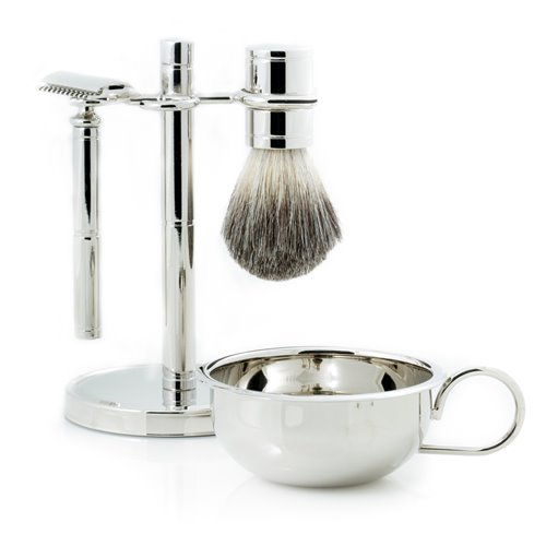 Safety Razor and Pure Badger Brush with Soap Dish on Chrome Stand