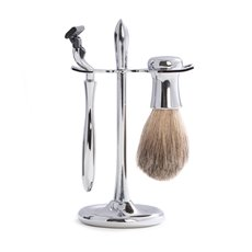 Mach 3 Razor and Pure Badger Brush on Chrome Stand