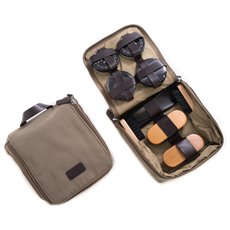 Shoe Shine Kit in Ultra Suede and Brown Leather Zippered Case