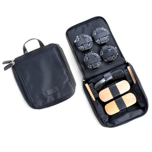 Shoe Shine Kit in Black Ballistic Nylon Zippered Case