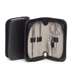 4 Piece Manicure Set with Small Nail Clippers, Scissors, File and Tweezers in Black Leather Case
