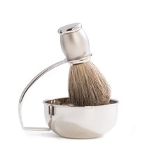 Chrome Plated and Satin Finished Soap Dish with Pure Badger Brush