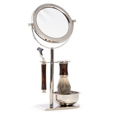 Mach3 Razor and Pure Badger Brush with Marbleized Brown Enamel on Chrome Stand with 3x Magnified Double Sided Mirror