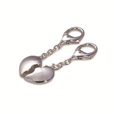 Silver Plated Interlocking Heart Key Ring