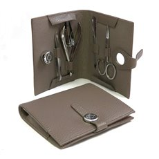 5 Piece Manicure Set with Scissors, File, Nipper, Small Clipper and Tweezers in Stone Leather Case