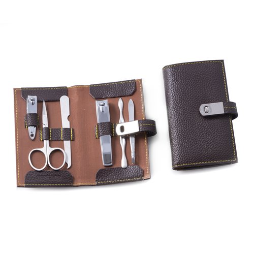 6 Piece Manicure Set with Cuticle Cleaner, Small and Large Nail Clippers, Scissors, File and Tweezers in Brown Leather Case