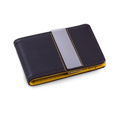 Brown Leather Wallet with Credit Card / ID Slots and Stainless Steel Money Clip