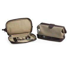 Ultra Suede and Brown Leather Toiletry Bag with 6 Piece Manicure and Grooming Set